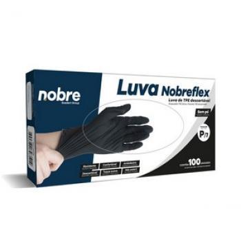 """LUVA DESCARTAVEL NOBREFLEX C/100 UNID """"M/8"""" PRETO NOBRE"""
