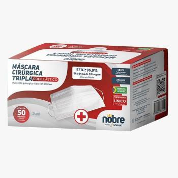 MASCARA CIRURGICA TRIPLA COM ELASTICO (CAIXA VM. C/ 50 UND) NOBRE