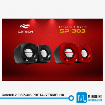 Caixa Coletek 2.0 SP-303 PRETA /VERMELHA