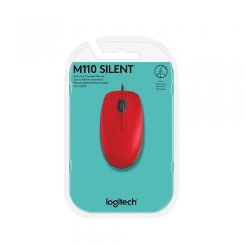 Mouse Optico M110 Silent Vermelho USB Logitech