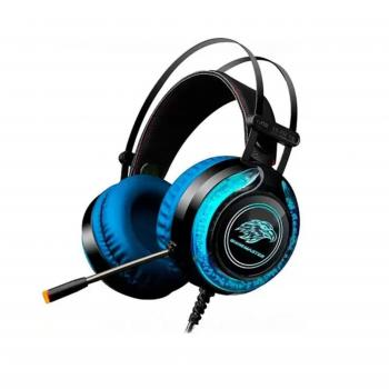 Headset Gamer Stereo C/ Microfone Preto e Azul RGB ARS9 KMEX