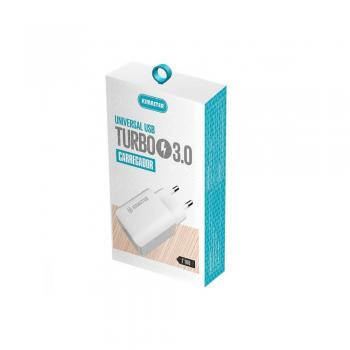 Carregador Universal USB Turbo 3.0 Kimaster T108 Branco