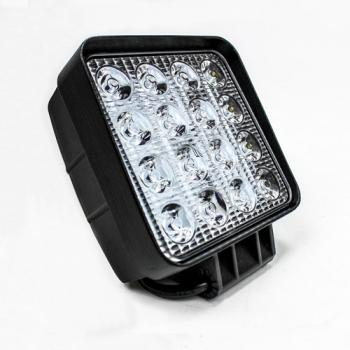 FAROL DE LED QUADRADO 16 LED BI-VOLT 10-30V 48W BRANCO